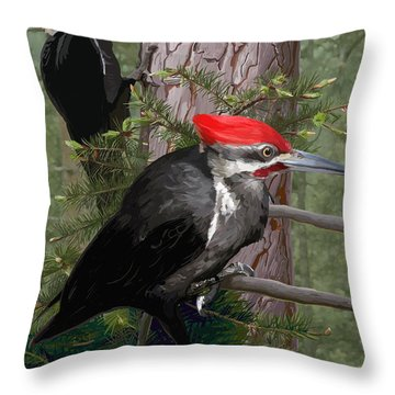 Pileated Woodpeckers Throw Pillow by Pam Little