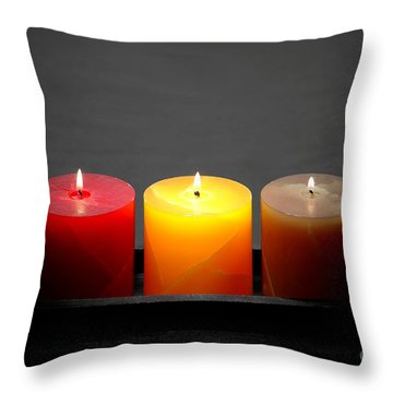 Pillar Candles Throw Pillow by Olivier Le Queinec