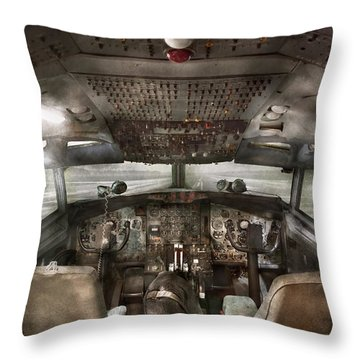 Pilot - Boeing 707  - Cockpit - We Need A Pilot Or Two Throw Pillow by Mike Savad