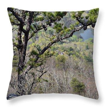 Pine Tree On A Mountain Throw Pillow by Susan Leggett