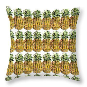 Pineapple Parade Throw Pillow by John Keaton