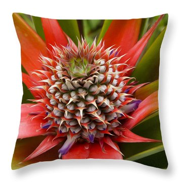 Pineapple Plant Throw Pillow by Aged Pixel