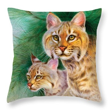 Pinewoods Bobcat Throw Pillow by Tracy Herrmann