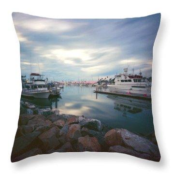 Pinhole Oceanside Harbor Throw Pillow by Hugh Smith