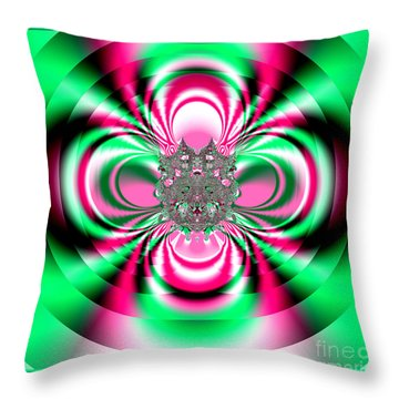 Pink And Green Rotating Flower Fractal 74  Throw Pillow by Rose Santuci-Sofranko
