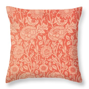 Pink And Rose Wallpaper Design Throw Pillow by William Morris