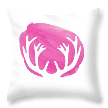 Pink Antlers Throw Pillow by Marion De Lauzun