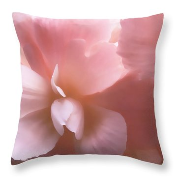 Pink Begonia Floral Throw Pillow by Jennie Marie Schell