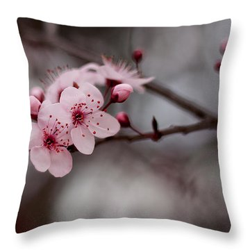Pink Blossoms Throw Pillow by Michelle Wrighton