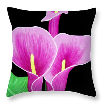 Pink Calla Lillies 2 Throw Pillow by Angelina Vick