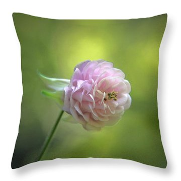Pink Columbine Throw Pillow by  Andrea Lazar