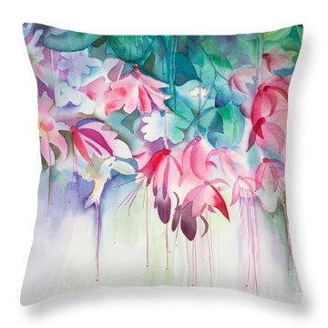 Pink Flowers Watercolor Throw Pillow by Michelle Wiarda