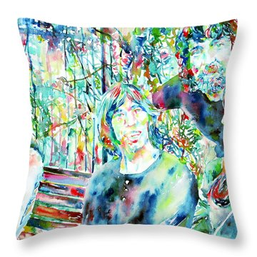 Pink Floyd At The Park Watercolor Portrait Throw Pillow by Fabrizio Cassetta