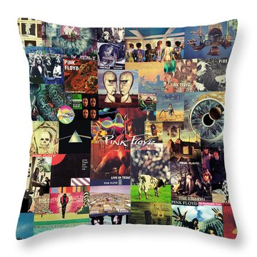 Pink Floyd Collage II Throw Pillow by Taylan Soyturk