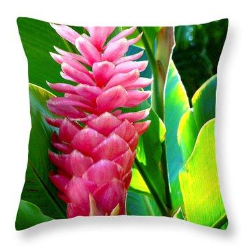 Pink Ginger Throw Pillow by Karon Melillo DeVega