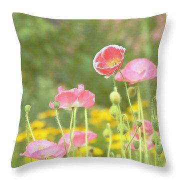 Pink Poppies Throw Pillow by Kim Hojnacki