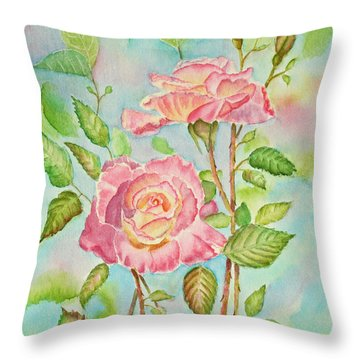Pink Roses And Bud Throw Pillow by Kathryn Duncan