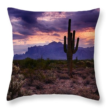 Pink Skies At The Superstitions Throw Pillow by Saija  Lehtonen