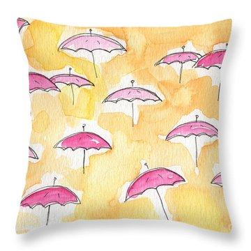 Pink Umbrellas Throw Pillow by Linda Woods