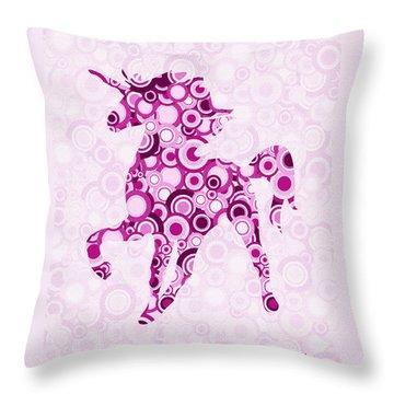 Pink Unicorn - Animal Art Throw Pillow by Anastasiya Malakhova