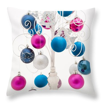 Pink White And Blue Christmas Throw Pillow by Anne Gilbert