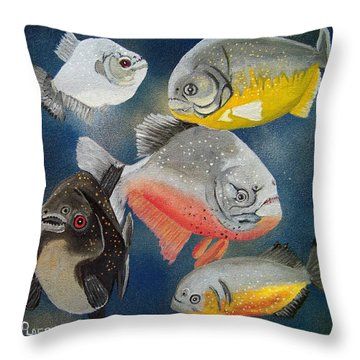 Pirahna  Fish Throw Pillow by Debbie LaFrance