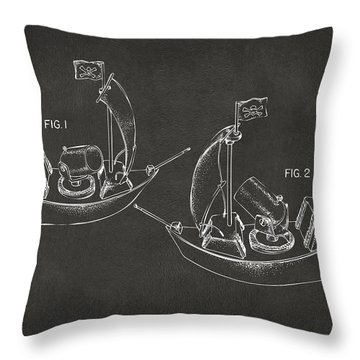 Pirate Ship Patent Artwork - Gray Throw Pillow by Nikki Marie Smith