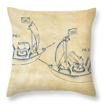Pirate Ship Patent Artwork - Vintage Throw Pillow by Nikki Marie Smith