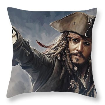 Pirates Of The Caribbean Johnny Depp Artwork 2 Throw Pillow by Sheraz A