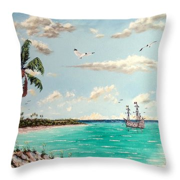Pirates On Pavilion Key Throw Pillow by Riley Geddings