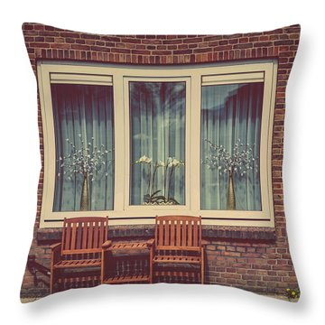 Place Just For Two. Pink Spring In Amsterdam Throw Pillow by Jenny Rainbow