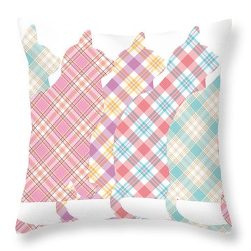 Plaid Cats Throw Pillow by Peggy Collins