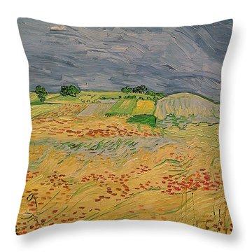 Plain At Auvers Throw Pillow by Vincent Van Gogh