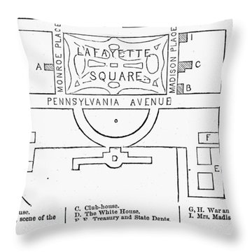 Plan Of Lafayette Square Throw Pillow by Granger