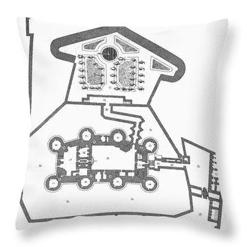 Plan Of The Bastille Throw Pillow by Granger