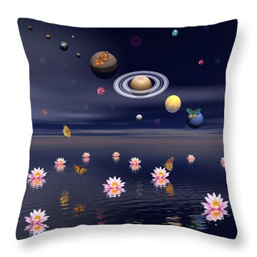 Planets Of The Solar System Surrounded Throw Pillow by Elena Duvernay