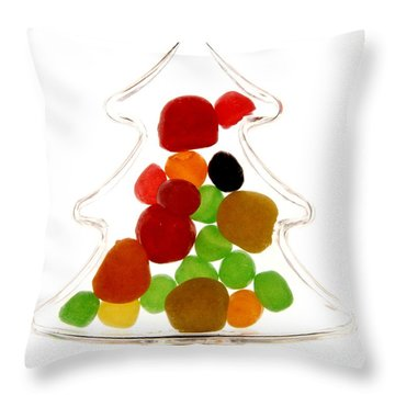 Plastic Christmas Tree Containing Sweet Throw Pillow by Bernard Jaubert