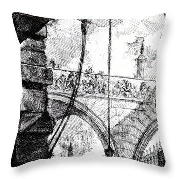 Plate 4 From The Carceri Series Throw Pillow by Giovanni Battista Piranesi