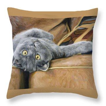 Playful Throw Pillow by Lucie Bilodeau