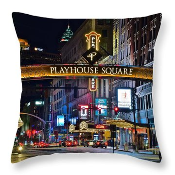 Playhouse Square Throw Pillow by Frozen in Time Fine Art Photography