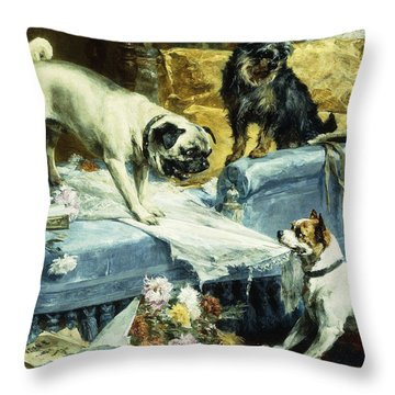 Playing Havoc Throw Pillow by Charles van den Evcken