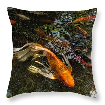 Playing Koi With Me Throw Pillow by Shannon Story