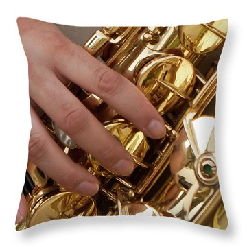 Playing Sax Throw Pillow by Jim Finch