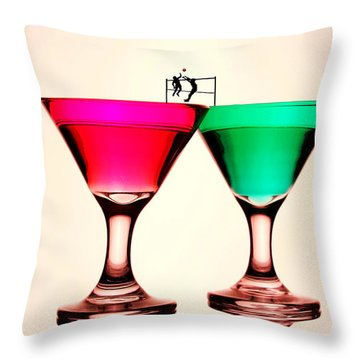 Playing Volleyball On Colorful Cups Little People On Food Throw Pillow by Paul Ge