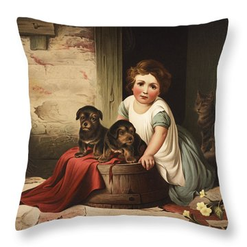 Playing With Friends Circa 1850 Throw Pillow by Aged Pixel