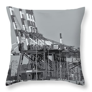Pnct Facility In Port Newark-elizabeth Marine Terminal II Throw Pillow by Clarence Holmes