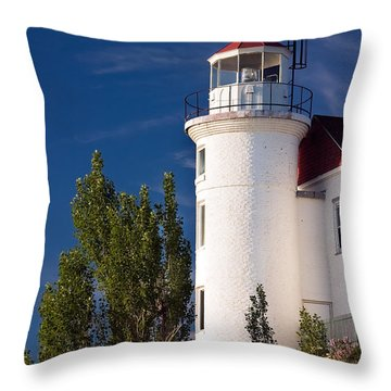 Point Betsie Lighthouse Michigan Throw Pillow by Adam Romanowicz