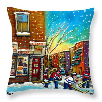 Pointe St. Charles Hockey Game At The Depanneur Montreal City Scenes Throw Pillow by Carole Spandau