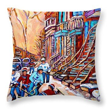 Pointe St.charles Hockey Game Near Winding Staircases Montreal Winter City Scenes Throw Pillow by Carole Spandau