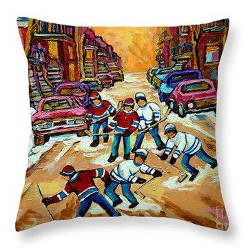 Pointe St.charles Hockey Game Winter Street Scenes Paintings Throw Pillow by Carole Spandau